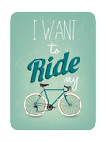 Retro Illustration Bicycle Poster by  Melindula