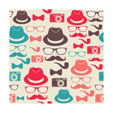 Hipsters Seamless Pattern Posters by  cienpies