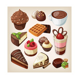 Set Of Chocolate Sweet Food Premium Giclee Print by  moonkin