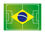 Soccer Field Brazil Flag Prints by  talitha