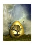 Fantasy Egg With Tree Print by  justdd