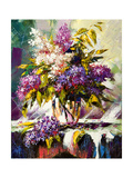 Lilac Bouquet In A Vase Print by  balaikin2009