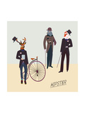 Retro Animals Hipster Like Póster por run4it