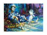 The Harlequin And A White Parrot Print by  balaikin2009