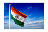 India Indian Flag In Blue Sky Posters by  f9photos