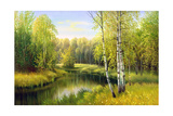 The Wood River In Autumn Day Art by  balaikin2009