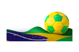 Brazilian Flag And Soccer Ball Prints by  albund