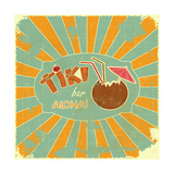 Retro Design Tiki Bar Menu 高品質プリント :  elfivetrov