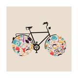 Vintage Hipsters Icons Bike Premium Giclee Print by  cienpies