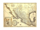 Map Of Mexico Dated 1821 Print by  Tektite