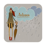 Hand Drawn Autumn Girl Prints by  Melindula