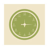 Green Dotted Hipster Clock Art by  place4design
