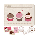 Set Of Cupcakes On Old Postcard Print by  woodhouse