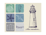 Vintage Set Of Sea Travel Icons Poster by  yunna