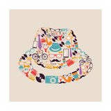 Vintage Hipsters Icons Hat Poster by  cienpies