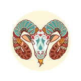 Zodiac Signs - Aries Premium Giclee Print by  krasstin