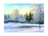 Not Frozen Lake In Winter Wood Print by  balaikin2009
