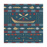 Indian Fishing - Seamless Pattern Art by  destra