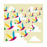 Transparent Birds Pattern Affiches par  cienpies
