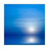 Moon, Sky And Blue Sea Prints by  alanuster