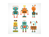 Set Of Cute Vintage Robots Prints by  Marish