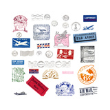 Vintage Airmail Labels And Stamps Prints by  cmfotoworks