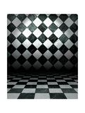 Black And White Check Grunge Room Poster by  molodec