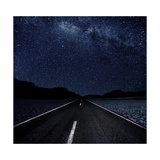 Highway And Starry Night In Desert Prints