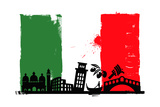 Italy Flag And Silhouettes Poster af bioraven