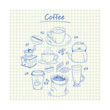 Coffee Doodles - Squared Paper Print by  kytalpa