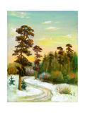 Landscape With Road To Winter Wood Print by  balaikin2009