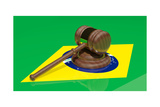Gavel On The Flag Of Brazil Posters by  viperagp