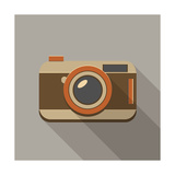Flat Long Shadow Retro Camera Icon Premium Giclee Print by  YasnaTen