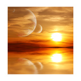 Sunset In Alien Planet Prints by  frenta