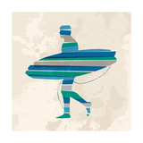 Vintage Multicolor Go Surfing Prints by  cienpies