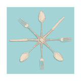 Retro Cutlery Design Set Posters by  cienpies