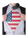 Business Man With Usa Flag T-Shirt Print by  IJdema