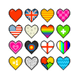 8-Bit Assorted Pixel Hearts Prints by  wongstock