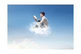 Young Man Reads Sitting On A Cloud Prints by  olly2