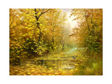 Pool On Road To Autumn Wood Prints by  balaikin2009