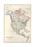 19Th Century Map Of North America Prints by  Tektite