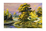 Gold Autumn Landscape Prints by  balaikin2009