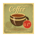 Grunge Card With Coffee Cup Prints by  elfivetrov