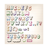 Doodle Vintage Abc Elements Prints by  Benchart