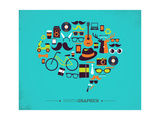 Hipster Speech Bubble With Icons Giclee-tryk i høj kvalitet af  Marish