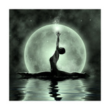 Moonlight Yoga Meditation Print by  Detelina