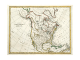 Map Of North America Dated 1791 Posters by  Tektite