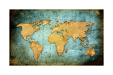 World Map Textures And Backgrounds Print by  ilolab