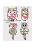 Set Of Cute Colorful Owls Lámina por cherry blossom girl