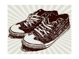 Vintage Sneakers Hand Drawn Prints by  tsaplia